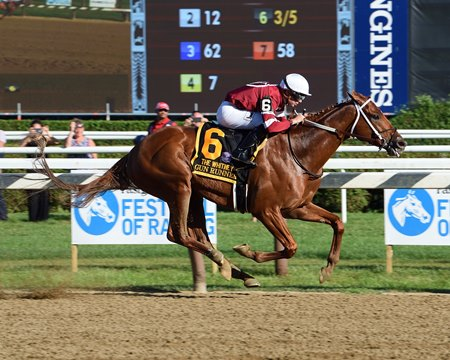 Gun Runner improved his rating with his Whitney Stakes (G1) win.