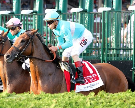 Lady Eli with Irad Ortiz Jr. leave the starting gate at Saratoga in the 29th Running of the Ballston Spa on August 26, 2017