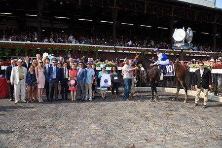Drefong wins the 2017 Forego Stakes