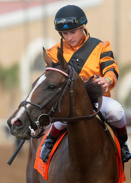 Jockey Drayden Van Dyke guides Cambodia to the winner's circle after their victory in the Grade II, $200,000 Yellow Ribbon Handicap, Saturday, August 5, 2017 at Del Mar Thoroughbred Club, Del Mar CA.