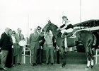 Leonard Lavin holds the reins of Convenience after taking the 1972 Sequoia Handicap at Hollywood Park