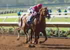 Skye Diamonds wins the Aug. 13 Rancho Bernardo Handicap at Del Mar under jockey Tiago Pereira