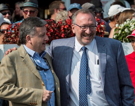 Practical Joke's owners Bill Lawrence, left and Seth Klarman enjoy the win in the 33rd running of The H. Allen Jerkens at the Saratoga Race Course in Saratoga Springs, N.Y.