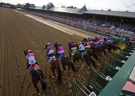The field leaving the starting gate in the 2017 Travers at Saratoga on August 26, 2017