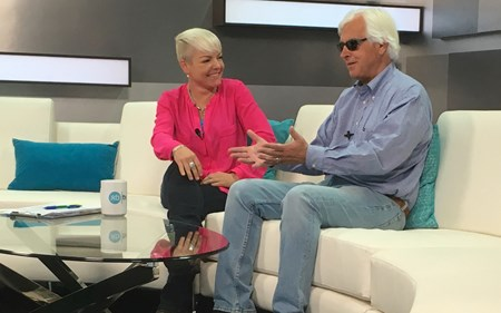 Zoe Cadman and Bob Baffert. Scenes from the XBTV studio and XBTV talent and cameramen on location. Feb. 13, 2016 in , California.