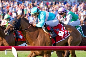 Dacita wins the Beverly D. Stakes