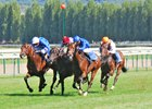 Al Wukair and Frankie Dettori (red cap) win the  Jacques Le Marois in a close finish