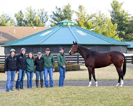 Songbird with her Team WinStar handlers, l-r, Travis Warnken, Destin Heath, Alex Valder, Lanie Bratcher, Juan Triana, and Salbador Ceballos -Gomez on Jan. 21, 2017, at the WinStar training barn near Versailles, Ky. Absent: trainer Richard Budge (at Eclipse Awards).