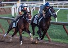 Girvin (inside) works under Robby Albarado in company with Line Judge under trainer Joe Sharp