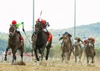 Game Over (outside) chases Colonelsdarktemper in the West Virginia Derby