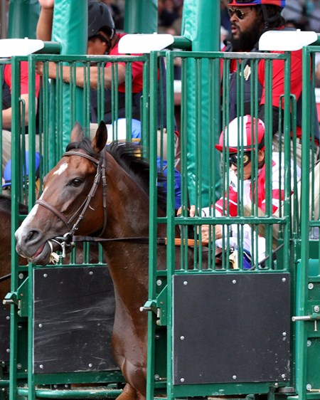 Songbird with Mike Smith break from the gate for the 70th Running of the Personal Ensign at Saratoga on August 26, 2017