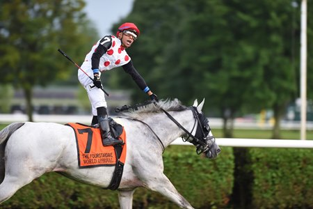 Manuel Franco celebrates his first Saratoga Race Course grade 1 on World Approval