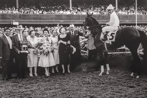 Tomy Lee in the winner's circle after taking the 1958 Del Mar Futurity