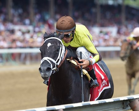 Pure Silver pulls away in the stretch to win the Adirondack Stakes