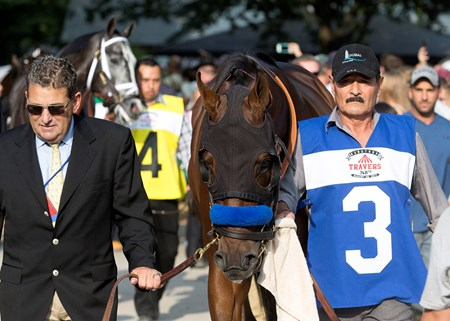 West Coast heading to the paddock before the 2017 Travers at Saratoga on August 26, 2017