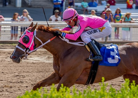 Jockey Emanuel Nieves pilots Sunny Oak to victory in the 36th running of the Louisiana Cup Filly and Mare Sprint from Louisiana Downs