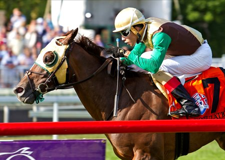 Postulation wins the 2017 American St. Leger Stakes
