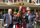 Stradivarius with owner Bjorn Nielsen (left) and fellow connections after winning The Qatar Goodwood Cup