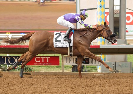 Spectator and jockey Jamie Theriot win the Grade II, $200,000 Sorrento Stakes, Saturday, August 5, 2017 at Del Mar Thoroughbred Club, Del Mar CA.