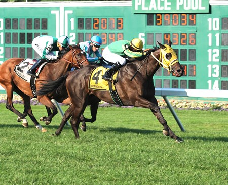 Tricky Escape #4 with Chris Decarlo aboard wins the 2017 Violet Stakes at Monmouth Park in Oceanport, NJ on August 19, 2017.