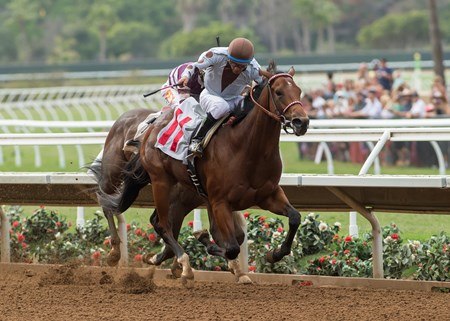 DP Racing's Continental Divide and jockey Victor Espinoza win the $100,000 Graduation Stakes, Sunday, August 6, 2017 at Del Mar Thoroughbred Club, Del Mar CA.
