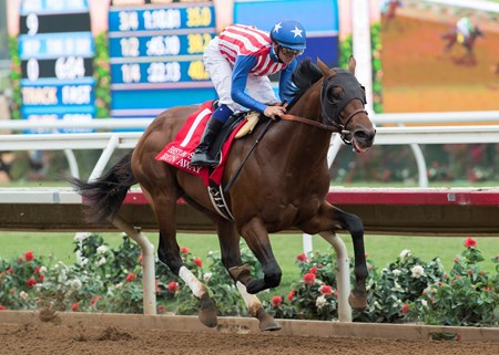 Kaleem Shah's Run Away and jockey Flavien Prat win the G2, $200,000 Best Pal Stakes, Saturday, August 12, 2017 at Del Mar Thoroughbred Club, Del Mar CA.