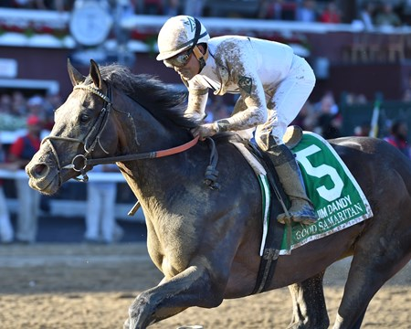 Good Samaritan wins the Jim Dandy Stakes Presented by NYRA Bets (G2) $600,000, trained by William Mott with Joel Rosario up at Saratoga Race Course on July 29 2017.