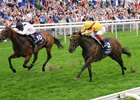 Marsha (left) catches Lady Aurelia at the wire to win the Nunthorpe Stakes