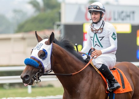 Jockey Flavien Prat guides Battle of Midway to the winner's circdle after their victory in the $100,000 Shared Belief Stakes, Saturday, August 26, 2017 at Del Mar Thoroughbred Club, Del Mar CA.