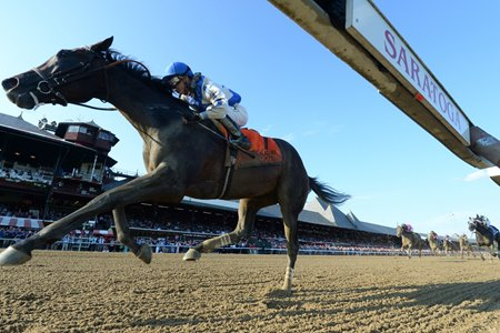 Elate draws away to win the Alabama Stakes by 5 1/2 lengths at Saratoga Race Course