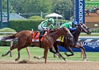 By the Moon holds off Highway Star to win the Ballerina Stakes at Saratoga Race Course