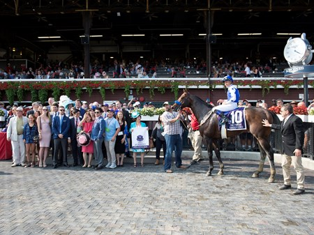 Drefong with Mike Smith wins the Forego at Saratoga racecourse in Saratoga Springs, N.Y. on Aug. 26, 2017