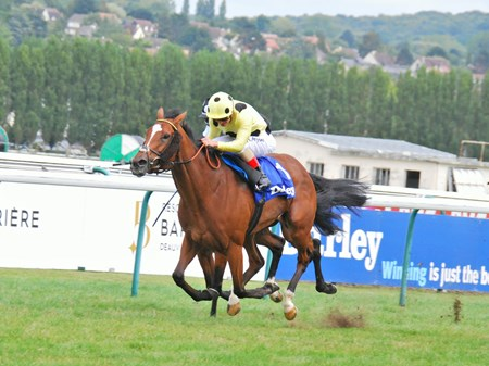 Prix Jean Romanet Group 1 race at Deauville, won, by Ajman and jockey A.Atzeni.