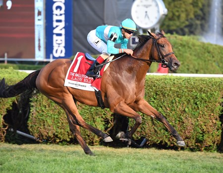 Lady Eli wins the 2017 Woodford Reserve Ballston Spa Stakes