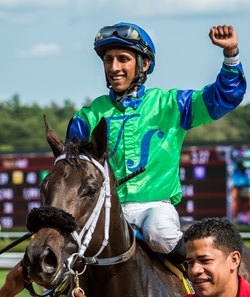 Rajiv Maragh aboard By the Moon after winning the Aug. 26 Ballerina at Saratoga Race Course