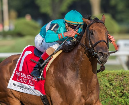 Lady Eli with jockey Irad Ortiz Jr. wins the 29th running of the Woodford Reserce Ballston Spa at the Saratoga Race Course in Saratoga Springs, N.Y.