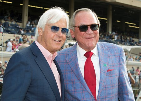 Owner Peter Fluor, right, celebrates with trainer Bob Baffert, left, after Collected's victory in the G1, $1,000,000 TVG Pacific Classic, Saturday, August 19, 2017 at Del Mar Thoroughbred Club, Del Mar CA.
