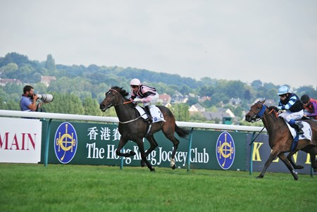 Prix Gontaut-Biron Hong Kong Jockey Club Group 111 race  won by First Sitting,  ridden by G.Mosse and trained by Chris Wall , with  Almanzor  trained by J.C.Rouget ridden by C.Soumillon second.