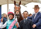 Enable, with jockey Frankie Dettori and trainer John Gosden (right) after the Yorkshire Oaks in August