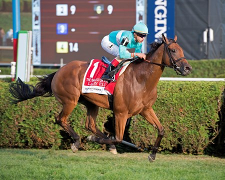 Lady Eli with Irad Ortiz Jr. wins Woodford Reserve Ballston Spa at Saratoga racecourse in Saratoga Springs, N.Y. on Aug. 26, 2017