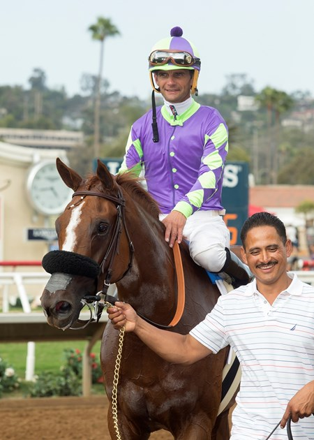 Spectator and jockey Jamie Theriot are guided into the winner's circle after their victory in the Grade II, $200,000 Sorrento Stakes, Saturday, August 5, 2017 at Del Mar Thoroughbred Club, Del Mar CA.