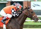 Colonelsdarktemper finishes a length in front in the Aug. 5 West Virginia Derby