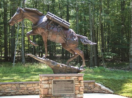 A statue of Sergeant Reckless at the National Museum of the Marine Corps