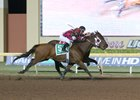 Okie Ride, outside, wins the final race of his career, the Silver Goblin Stakes at Remington Park Nov. 18