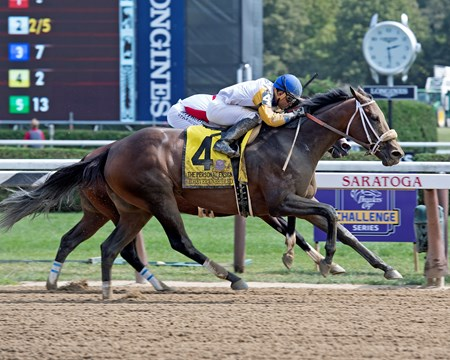 Forever Unbridled with Joel Rosario wins Personal Ensign at Saratoga racecourse in Saratoga Springs, N.Y. on Aug. 26, 2017