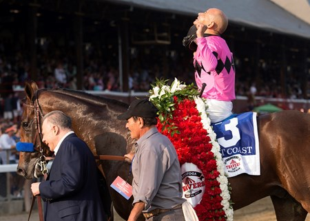 West Coast and Mike Smith after winning the 2017 Travers at Saratoga on August 26, 2017