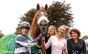 Ulysses with owner Maria Niarchos (right), groom Radka Hovadova, and jockey Jim Crowley after the Juddmonte International at York