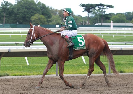 Teresa Z #5 with Nik Juarez riding won the $100,000 Monmouth Oaks at Monmouth Park in Oceanport, New Jersey on Saturday August 12, 2017.