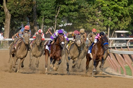 West Coast and Mike Smith turning for home in the 2017 Travers at Saratoga on August 26, 2017