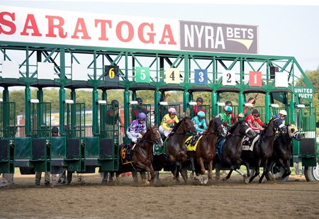 Start, #4 Twisted Tom with Javier Castellano wins the Albany at Saratoga racecourse in Saratoga Springs, N.Y. on Aug. 25, 2017
